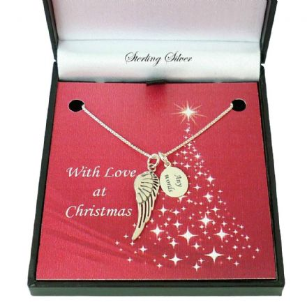 Angel Wing Necklace for Christmas, Sterling Silver